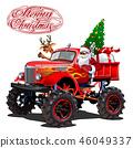 Vector Christmas card with cartoon monstertruck 46049337