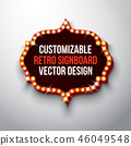 Vector retro signboard or lightbox illustration with customizable design on clean background. Light 46049548