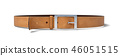 3d rendering of a buckled brown leather belt lying on a white background. 46051515