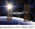 Reflecting Sun In Solar Panels Of International Space Station 46051817