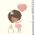 Cute African-American happy girl with the balloon and birthday hat wearing pink dress blowing up the 46052231