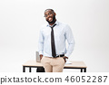 Headshot of successful smiling cheerful african american businessman executive stylish company 46052287