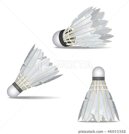 Realistic Detailed 3d White Shuttlecocks for Badminton Set. Vector 46053388