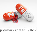 Pill with iron FE element. Dietary supplements. 3d illustration 46053612