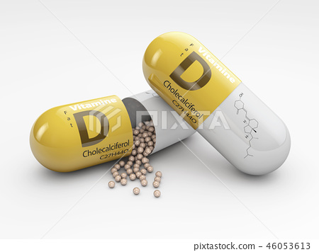 3d Illustration of capsule with vitamin D granules isolated over white background 46053613