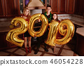 New 2019 Year is coming. Group of cheerful  46054228