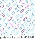 Bottles for Liquid Signs Thin Line Seamless Pattern Background. Vector 46054300