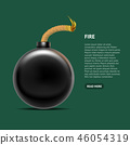 Realistic Detailed 3d Bomb Fire Card Poster. Vector 46054319