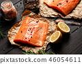 salmon, lemon, rosemary 46054611