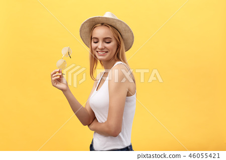 Closeup fashion studio portrait of hipster young woman 46055421