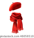 3d realistic red scarf and beret 46056510