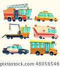 municipal city services, emergency, police, firetruck, ambulance, taxi, school bus, evacuator in 46056546
