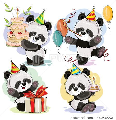 Happy Birthday Set With Baby Panda Bears Stock Illustration