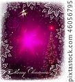 Christmas pink card with shiny spruce, Christmas retro balls and snowflakes 46056795