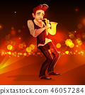 Jazz man with saxophone illustration 46057284