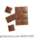 3d realistic brown chocolate bars, pieces 46057304