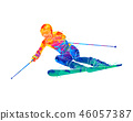 Abstract skiing. Descent giant slalom skier from splash of watercolors. Winter sports 46057387