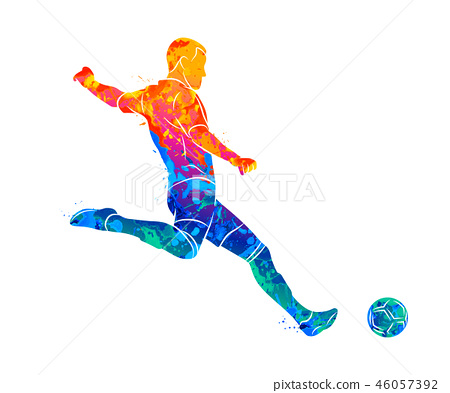 Abstract professional soccer player quick shooting a ball from splash of watercolors 46057392