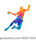 Abstract handball player jumping with the ball from splash of watercolors 46057394