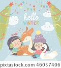 Funny cartoon girls with cute deer in winter forest 46057406