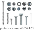 3d realistic steel bolts, nails, screws 46057423