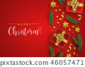Red Christmas gifts and holiday elements card 46057471