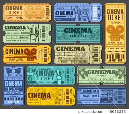 Cinema tickets for movie show or seance isolated 46058858