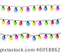 Christmas glowing lights on white background. Garlands with colored bulbs. Xmas holidays. Christmas 46058862