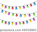 Christmas glowing lights on white background. Garlands with colored bulbs. Xmas holidays. Christmas 46058865