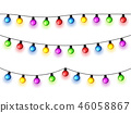 Christmas glowing lights on white background. Garlands with colored bulbs. Xmas holidays. Christmas 46058867