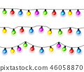 Christmas glowing lights on white background. Garlands with colored bulbs. Xmas holidays. Christmas 46058870
