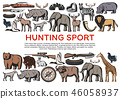 Animals and birds, weapons for hunting sport icons 46058937