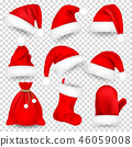 Christmas Santa Claus Hats With Fur Set, Mitten, Bag, Sock. New Year Red Hat Isolated on White 46059008
