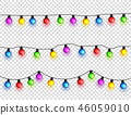 Christmas glowing lights. Garlands with colored bulbs. Xmas holidays. Christmas greeting card design 46059010