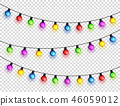 Christmas glowing lights. Garlands with colored bulbs. Xmas holidays. Christmas greeting card design 46059012