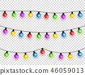 Christmas glowing lights. Garlands with colored bulbs. Xmas holidays. Christmas greeting card design 46059013