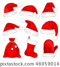Christmas Santa Claus Hats With Fur Set, Mitten, Bag, Sock. New Year Red Hat Isolated on White 46059014
