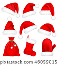 Christmas Santa Claus Hats With Fur Set, Mitten, Bag, Sock. New Year Red Hat Isolated on White 46059015