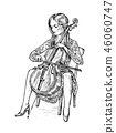 Young woman musician plays the cello on the classical instrument. Vintage style music concept 46060747