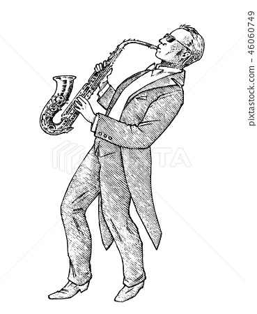 Man plays the trumpet. Musician with a classic instrument. Performance with a symphony orchestra 46060749