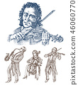 Symphony Orchestra. Men and women play the classical instruments, the violin, the cello, and the 46060770