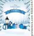 Christmas holiday background with a blue ribbon 46061647