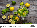 Fresh lime and lemons, ready to serve in drink 46065063