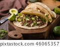 Homemade minced beef tortilla, fresh avocado and mozarella cheese 46065357