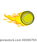 Isolated tennis ball with a fire effect 46066764