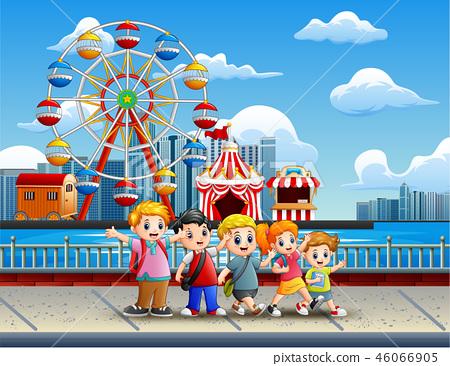 Cartoon of Children having fun on the lakeside 46066905