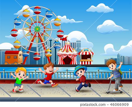 Cartoon of Children having fun on the lakeside 46066909
