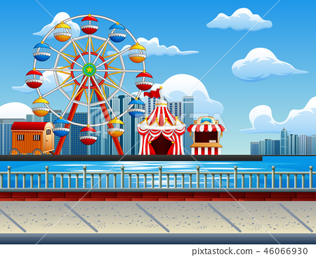 Illustration of amusement park with Ferris wheel 46066930