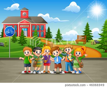 Happy school children in the road to school 46066949