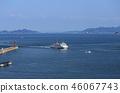 다카마쓰 항 玉藻 방파제 등대와 다카마쓰 항에 입항하는 쇼도 시마 페리 46067743